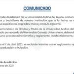 COMUNICADO: VICERRECTORADO ACADÉMICO